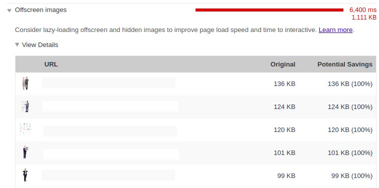 Chrome Lighthouse Audit frequently recommends lazy-loading offscreen images