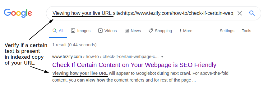 Check within the indexed copy for specific text content via Google Search